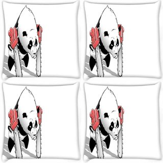 Snoogg Pack Of 4 Panda With Chainsaw Paws Digitally Printed Cushion Cover Pillow 10 x 10 Inch