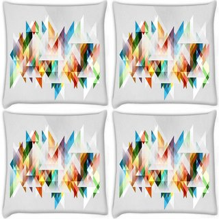 Snoogg Pack Of 4 Triangles Forming A Shape Digitally Printed Cushion Cover Pillow 10 x 10 Inch