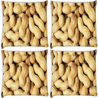 Snoogg Pack Of 4 Peanuts Digitally Printed Cushion Cover Pillow 10 x 10 Inch