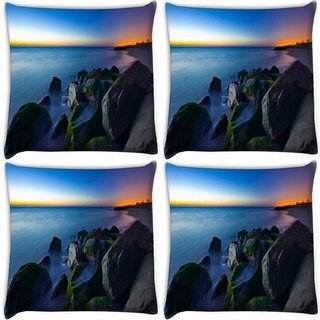Snoogg Pack Of 4 Nite Beach View Digitally Printed Cushion Cover Pillow 10 x 10 Inch