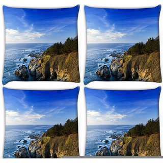 Snoogg Pack Of 4 Ocean Near The Forest Digitally Printed Cushion Cover Pillow 10 x 10 Inch