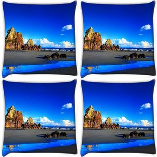 Snoogg Pack Of 4 Blue Color Water Digitally Printed Cushion Cover Pillow 10 x 10 Inch