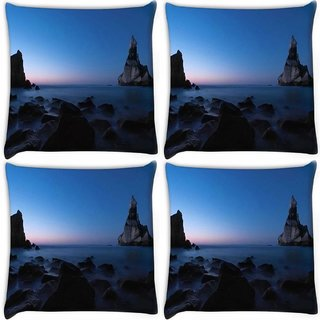 Snoogg Pack Of 4 Mountains In The Ocean Digitally Printed Cushion Cover Pillow 10 x 10 Inch
