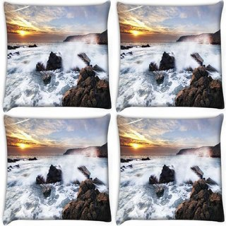 Snoogg Pack Of 4 Water Hitting The Stone Digitally Printed Cushion Cover Pillow 10 x 10 Inch