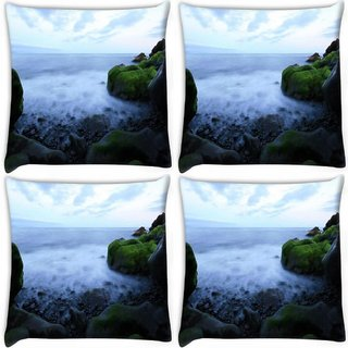 Snoogg Pack Of 4 Sea Side Green Rocks Digitally Printed Cushion Cover Pillow 10 x 10 Inch