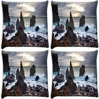 Snoogg Pack Of 4 Beach Side Pebble Stones Digitally Printed Cushion Cover Pillow 10 x 10 Inch