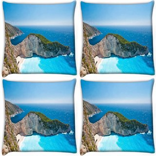 Snoogg Pack Of 4 Blue Water Near Mountain Digitally Printed Cushion Cover Pillow 10 x 10 Inch