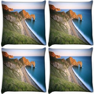 Snoogg Pack Of 4 Mountain And Large Opcean Digitally Printed Cushion Cover Pillow 10 x 10 Inch