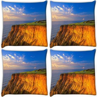 Snoogg Pack Of 4 Sky View From The Mountain Digitally Printed Cushion Cover Pillow 10 x 10 Inch