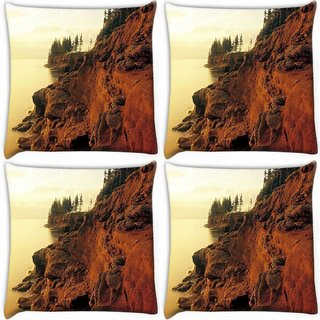 Snoogg Pack Of 4 Mountain Rocks Digitally Printed Cushion Cover Pillow 10 x 10 Inch