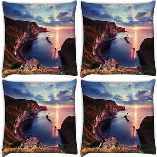 Snoogg Pack Of 4 Curve Mountain Digitally Printed Cushion Cover Pillow 10 x 10 Inch