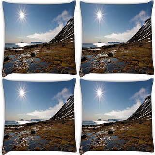 Snoogg Pack Of 4 Sunrise In The Sea Digitally Printed Cushion Cover Pillow 10 x 10 Inch