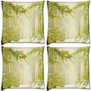 Snoogg Pack Of 4 Snowfall In Forest Digitally Printed Cushion Cover Pillow 10 x 10 Inch