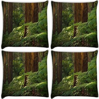 Snoogg Pack Of 4 Small Plants In Forest Digitally Printed Cushion Cover Pillow 10 x 10 Inch