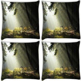 Snoogg Pack Of 4 Hidden Way In Forest Digitally Printed Cushion Cover Pillow 10 x 10 Inch