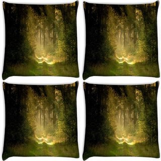Snoogg Pack Of 4 Garden And Forest Digitally Printed Cushion Cover Pillow 10 x 10 Inch