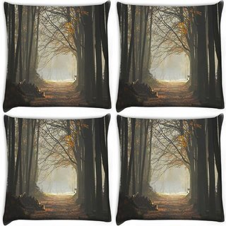 Snoogg Pack Of 4 Cutting The Forest Digitally Printed Cushion Cover Pillow 10 x 10 Inch