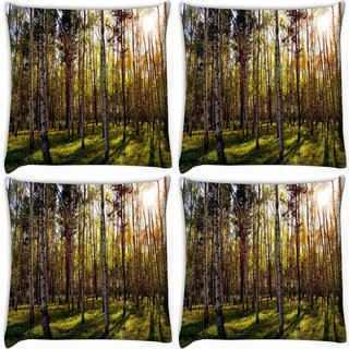 Snoogg Pack Of 4 Clean Forest Digitally Printed Cushion Cover Pillow 10 x 10 Inch