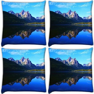 Snoogg Pack Of 4 Mirror Image Of Mountain Digitally Printed Cushion Cover Pillow 10 x 10 Inch