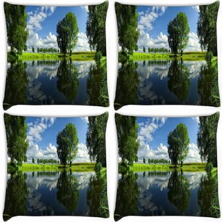 Snoogg Pack Of 4 Green Tree And Clouds Digitally Printed Cushion Cover Pillow 10 x 10 Inch