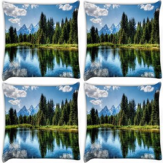Snoogg Pack Of 4 Wavy Water Digitally Printed Cushion Cover Pillow 10 x 10 Inch