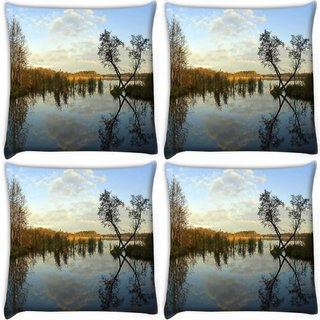 Snoogg Pack Of 4 River And Clouds Digitally Printed Cushion Cover Pillow 10 x 10 Inch