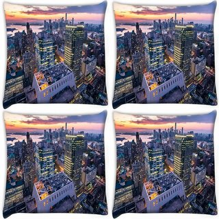 Snoogg Pack Of 4 Colorful Building Digitally Printed Cushion Cover Pillow 10 x 10 Inch