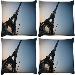 Snoogg Pack Of 4 Street Along The Towar Digitally Printed Cushion Cover Pillow 10 x 10 Inch