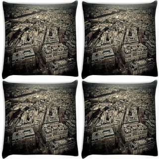 Snoogg Pack Of 4 White Buildings Digitally Printed Cushion Cover Pillow 10 x 10 Inch
