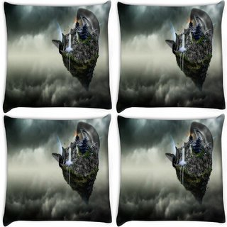 Snoogg Pack Of 4 Abstract Animated Earth Design Digitally Printed Cushion Cover Pillow 10 x 10 Inch