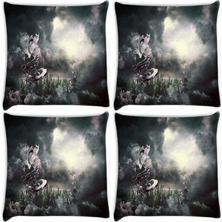 Snoogg Pack Of 4 Nature View Animated Digitally Printed Cushion Cover Pillow 10 x 10 Inch