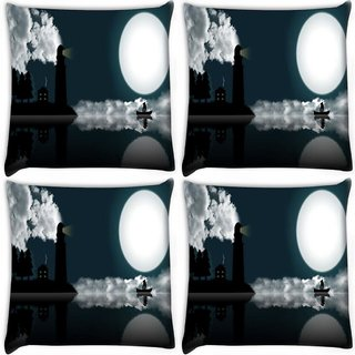 Snoogg Pack Of 4 Light House Digitally Printed Cushion Cover Pillow 10 x 10 Inch