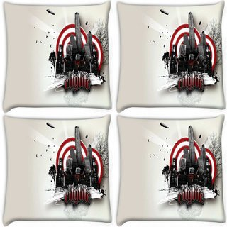 Snoogg Pack Of 4 Citylife Digitally Printed Cushion Cover Pillow 10 x 10 Inch