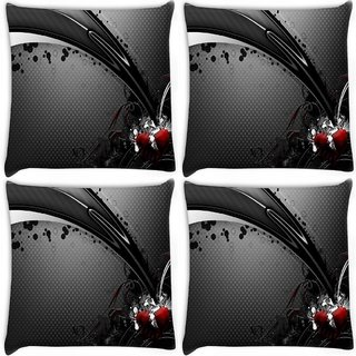 Snoogg Pack Of 4 Abstarct Grey Patytern Design Digitally Printed Cushion Cover Pillow 10 x 10 Inch
