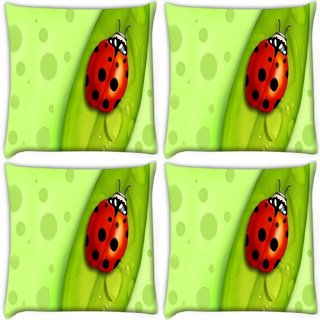 Snoogg Pack Of 4 Red Beatel Digitally Printed Cushion Cover Pillow 10 x 10 Inch
