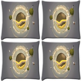 Snoogg Pack Of 4 Small Honey Bees Digitally Printed Cushion Cover Pillow 10 x 10 Inch