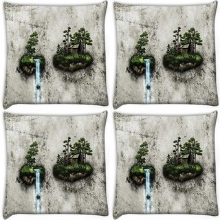 Snoogg Pack Of 4 Water Pouring Digitally Printed Cushion Cover Pillow 10 x 10 Inch