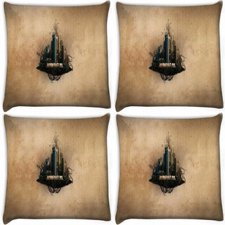 Snoogg Pack Of 4 Barnoaflas Digitally Printed Cushion Cover Pillow 10 x 10 Inch