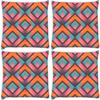 Snoogg Pack Of 4 Abstract Multicolor Triangles Digitally Printed Cushion Cover Pillow 10 x 10 Inch