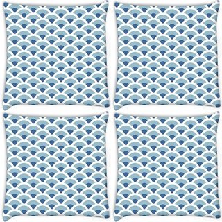Snoogg Pack Of 4 Abstract White Blue Pattern 1 Digitally Printed Cushion Cover Pillow 10 x 10 Inch