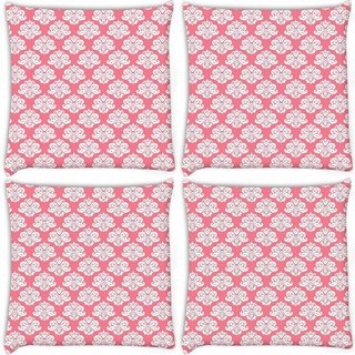 Snoogg Pack Of 4 Abstract White Pink Pattern 2 Digitally Printed Cushion Cover Pillow 10 x 10 Inch