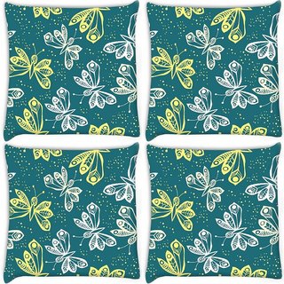 Snoogg Pack Of 4 White And Yellow Butterfly Digitally Printed Cushion Cover Pillow 10 x 10 Inch