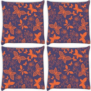Snoogg Pack Of 4 Orange Butterflies In Purple Pattern Digitally Printed Cushion Cover Pillow 10 x 10 Inch