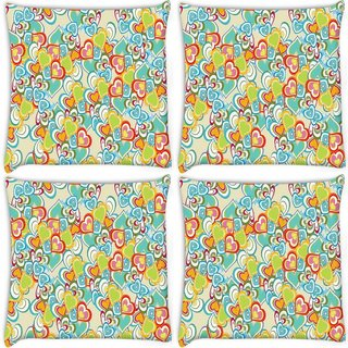 Snoogg Pack Of 4 Abstract Multicolor Hearts Digitally Printed Cushion Cover Pillow 10 x 10 Inch