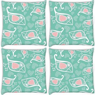 Snoogg Pack Of 4 White Birds Blue Pattern Digitally Printed Cushion Cover Pillow 10 x 10 Inch