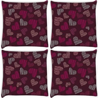 Snoogg Pack Of 4 Multicolor Abstract Hearts Digitally Printed Cushion Cover Pillow 10 x 10 Inch