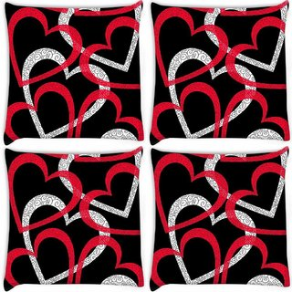 Snoogg Pack Of 4 Colorful Hearts Black Pattern Digitally Printed Cushion Cover Pillow 10 x 10 Inch