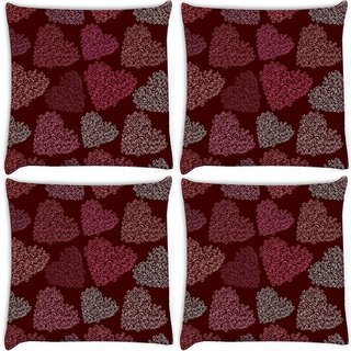 Snoogg Pack Of 4 Multicolor Hearts Digitally Printed Cushion Cover Pillow 10 x 10 Inch