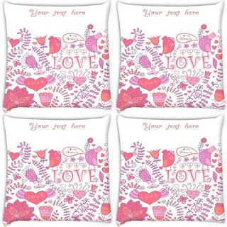 Snoogg Pack Of 4 Your Text Here White Pattern Digitally Printed Cushion Cover Pillow 10 x 10 Inch