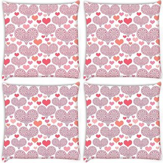 Snoogg Pack Of 4 Multiple Heart White Pattern Digitally Printed Cushion Cover Pillow 10 x 10 Inch